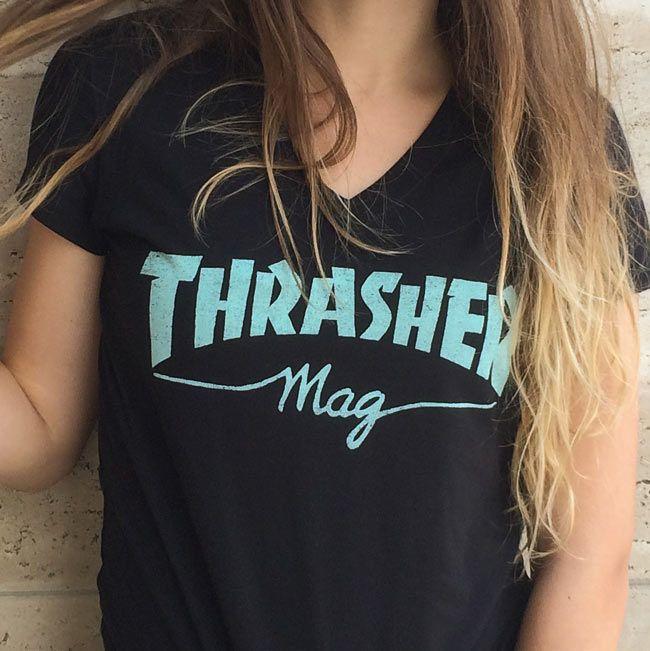 girls-thrasher-mag-logo-v-neck-black-teal-detail-650x650